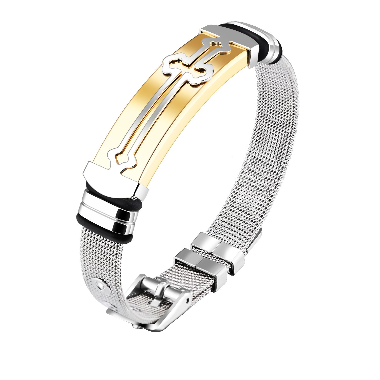 OPK Jewelry Men's Stainless Steel Adjustable Cross Bracelet with Buckle Clasp,Golden/Silvery, 6.69-7.48''