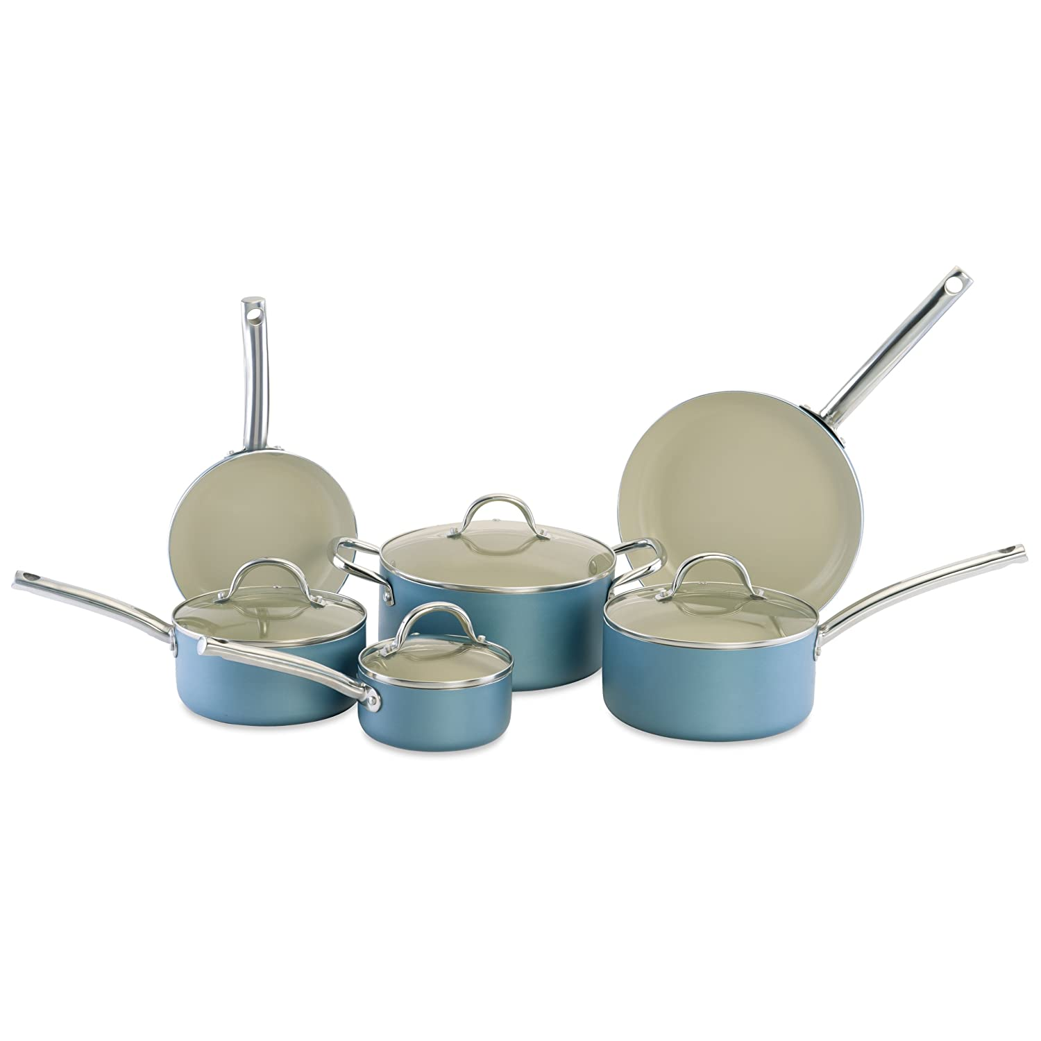 CeraStone CCJES03 Earth Series 10-Piece Ceramic Non Stick Cookware ...