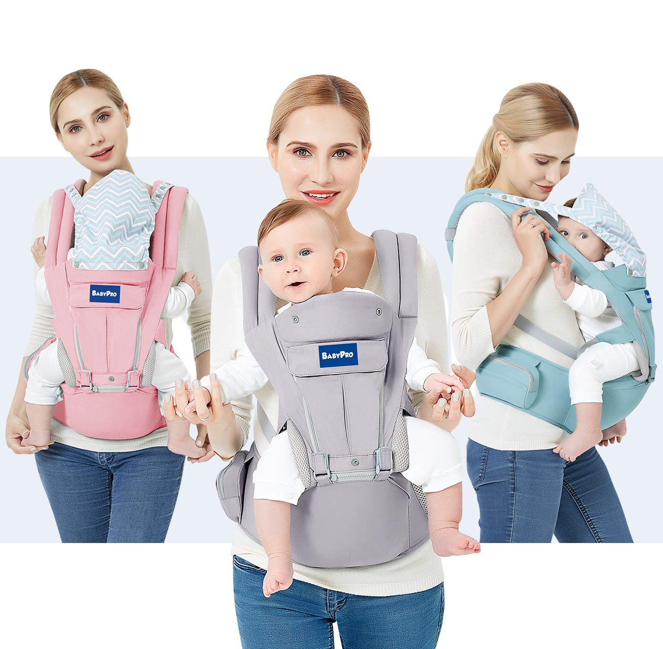 BabyPro Baby Carrier with Hip Seat, 9 Ergonomic Positions, All Season Baby Sling for Newborns Infants Toddlers, Hands Free Baby Carrier Wrap Front and Backpack for Traveling, Hiking and Breastfeeding