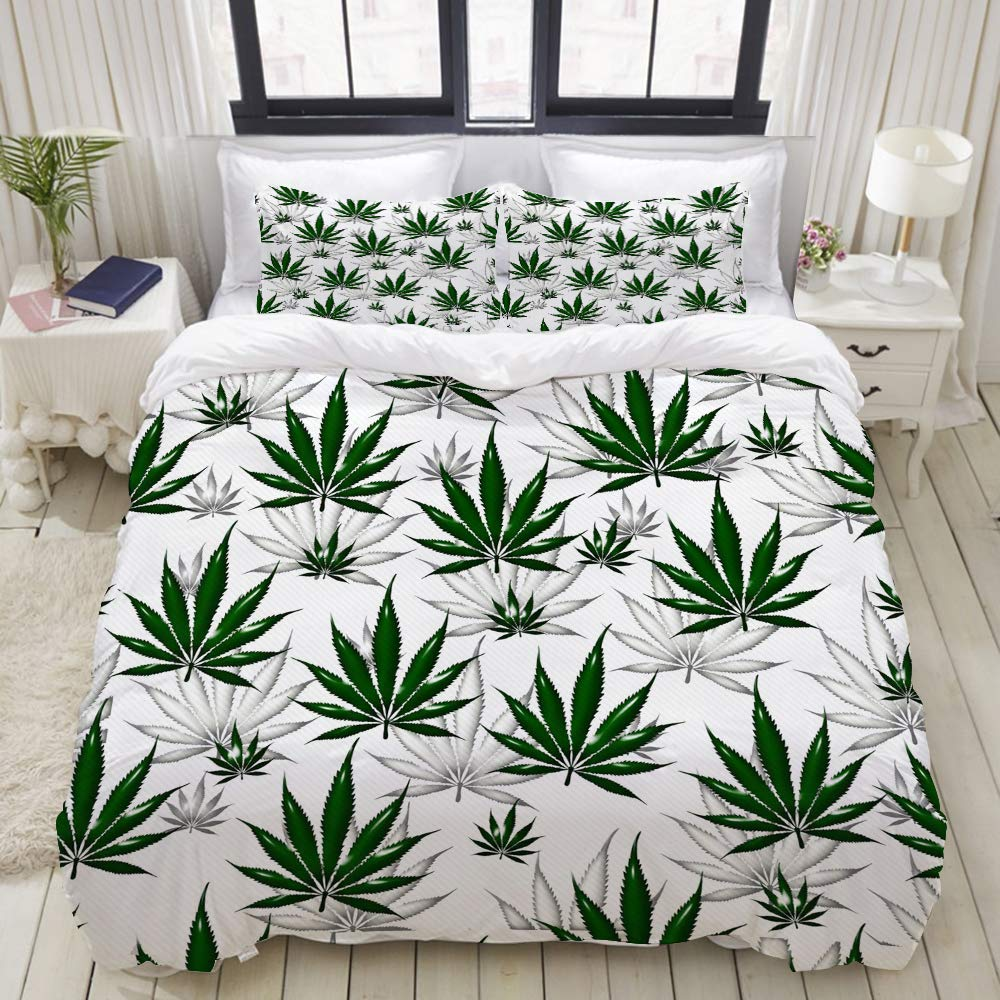 "Mokale Bedding Duvet Cover 3 Piece Set - Green Marijuana Cannabis Leaf Pattern - Decorative Hotel Dorm Comforter Cover with 2 Pollow Shams - Twin 68""x86"""