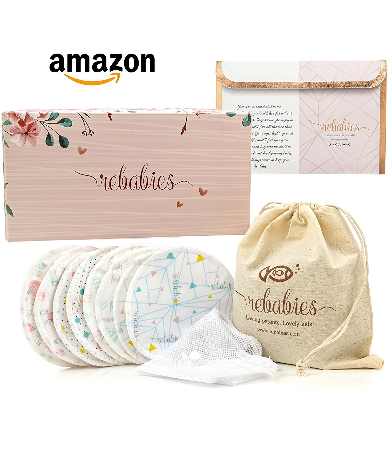 Best Nursing Pads for Breastfeeding Moms, Eco-Friendly Organic Bamboo No-Leak Bra Pads, Reusable, Washable, & Super Absorbent, Includes 4 Overnight & 4 Regular Pads, Awesome Baby Shower Gift (8 Pack) RD001