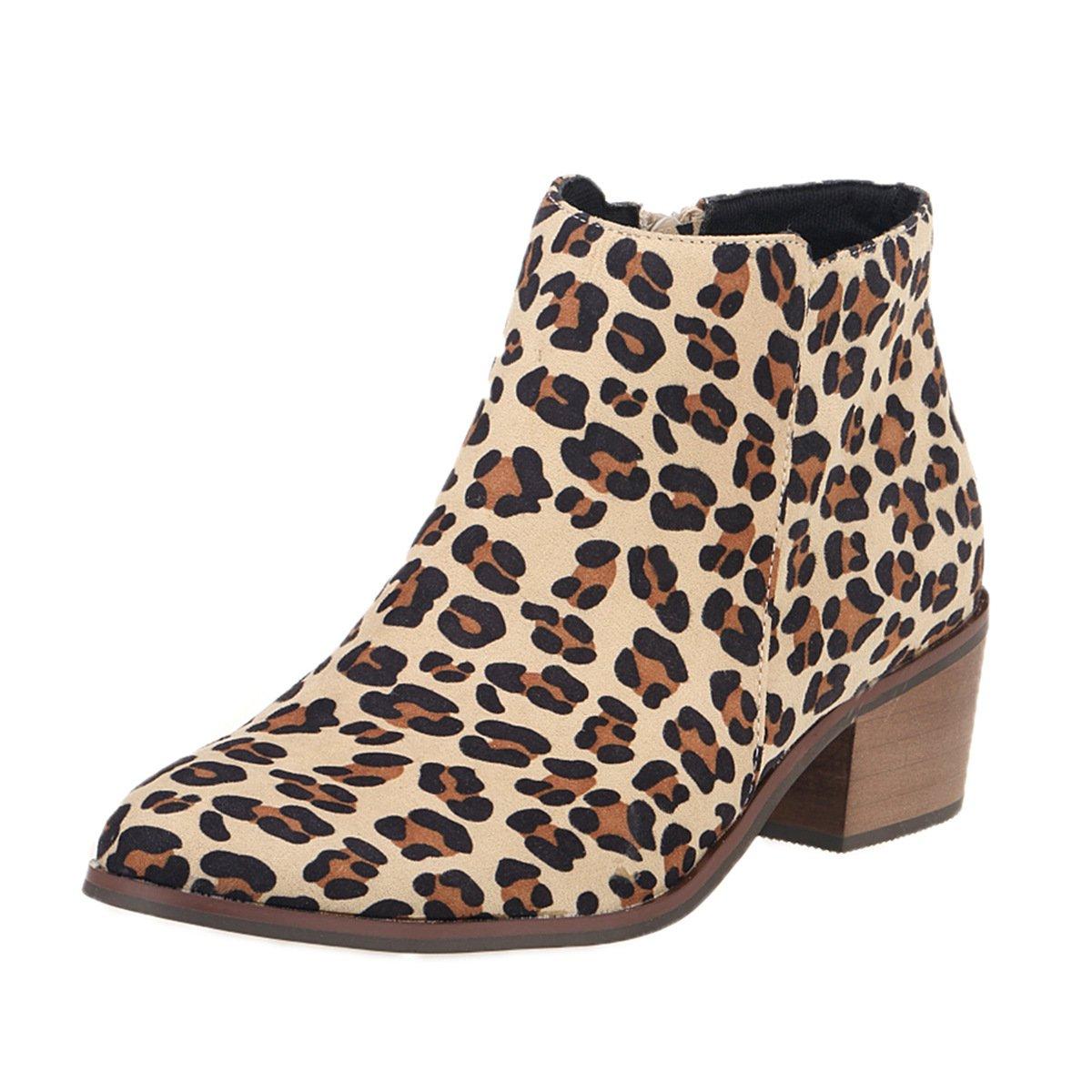 DYF Frauen Schuhe Kurze Stiefel Farbe Größe Scharfe Rauhe Ferse Reißverschluss Muster FLA 37
