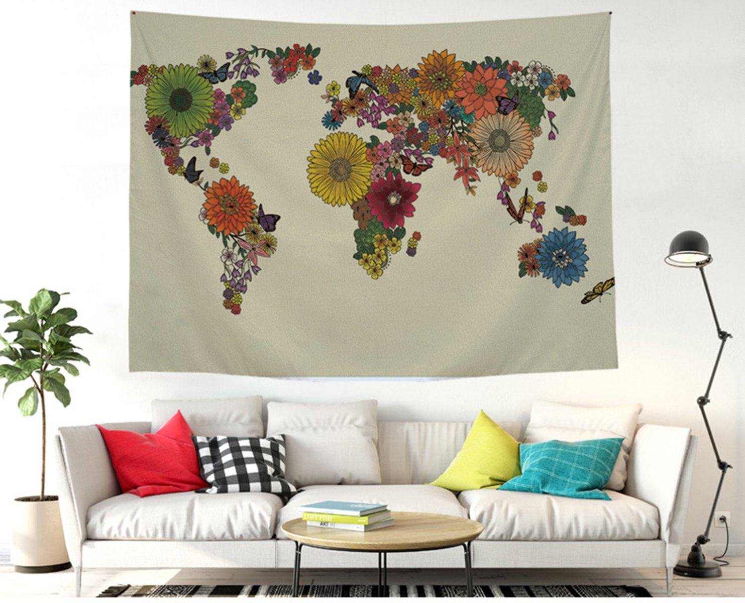 Shukqueen Tapestry, The Black World Map Wall Tapestry Bohemian Mandala Hippie Tapestry for Bedroom Living Room Dorm (51 H x 60 W, Black Map)