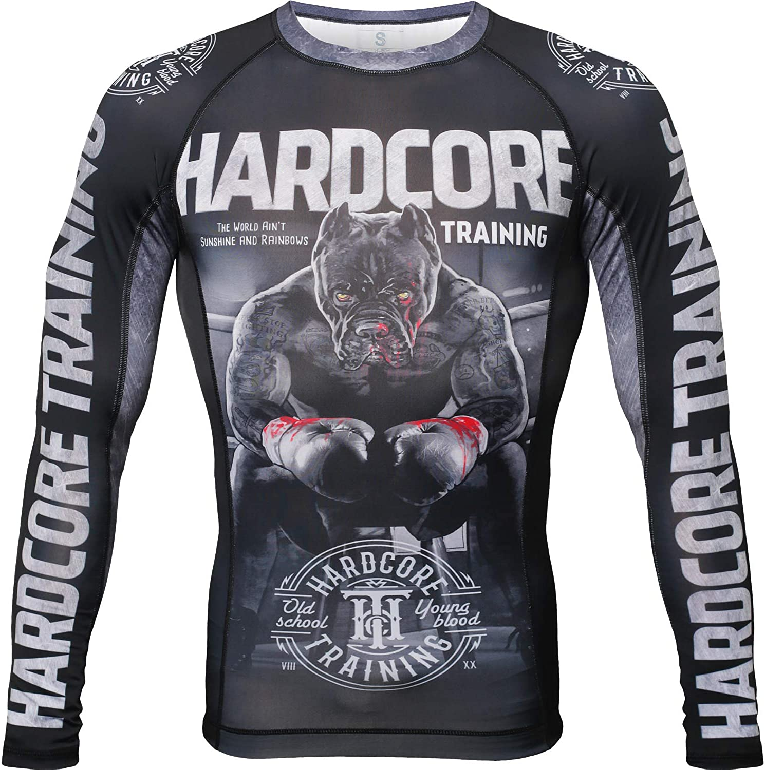Hardcore Training Ground Shark The Moment of Truth Men's Rash Guard Compression Long Sleeve MMA No-Gi Tight BJJ Grappling Base Layer Fitness
