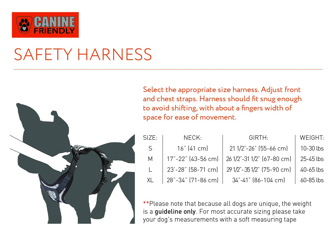 Canine Friendly Dog Safety Harness, X-Large, Steel Grey