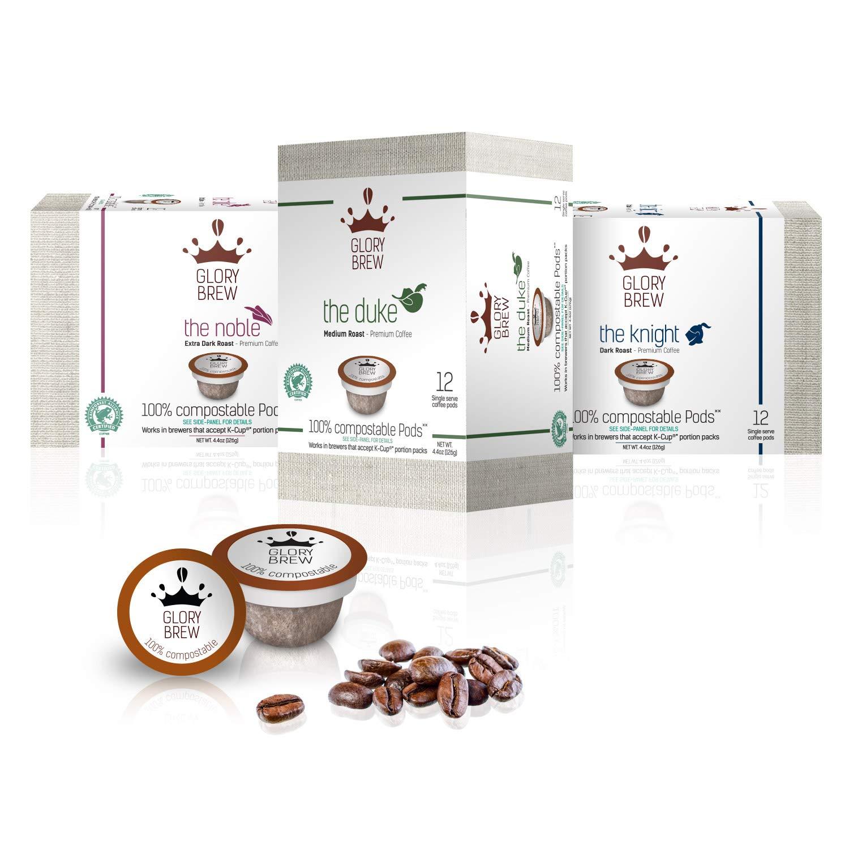 GLORYBREW - 36 K Cup Variety Pack - 100% Compostable Keurig Coffee Pods - Rainforest Alliance Certified Medium & Dark Roasts Biodegradable…