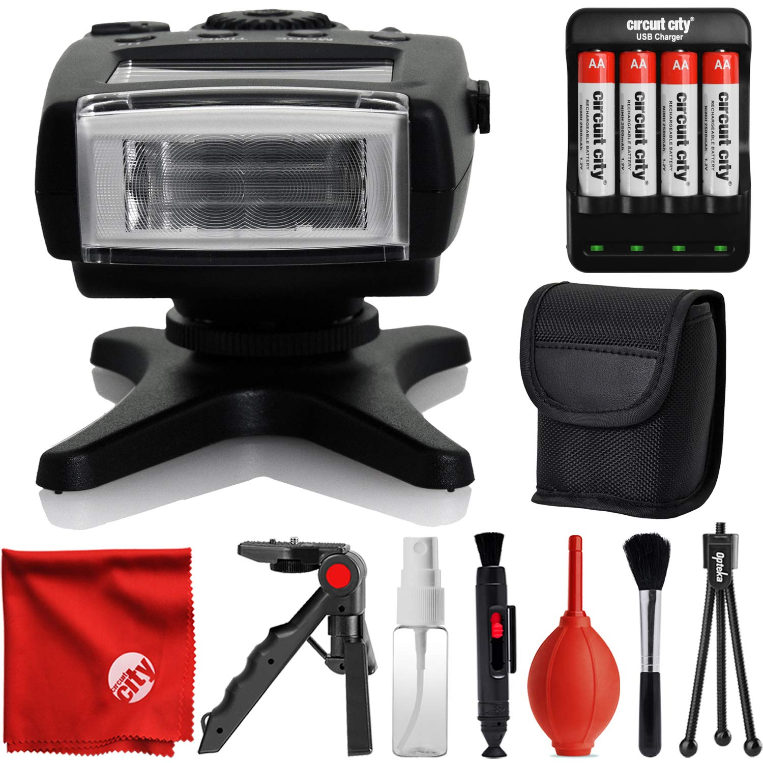 DigitalMate DM130S TTL Dedicated Compact Flash w/LCD Display + Case for Sony NEX 3, NEX 3N, NEX 5, NEX 5T, NEX 5R, NEX 6, NEX 7, A5000, A5100, A6000, A6100, A6300, A6500, A9 APS-C DSLR Cameras by DigitalMate