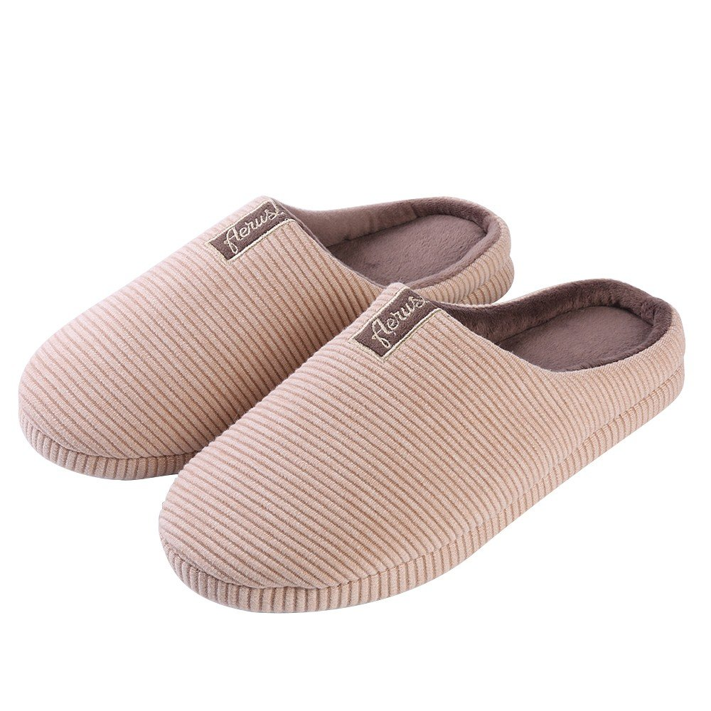 WGS Stylish Unisex Adult Stripe Memory Foam Bedroom Slipper House Shoes