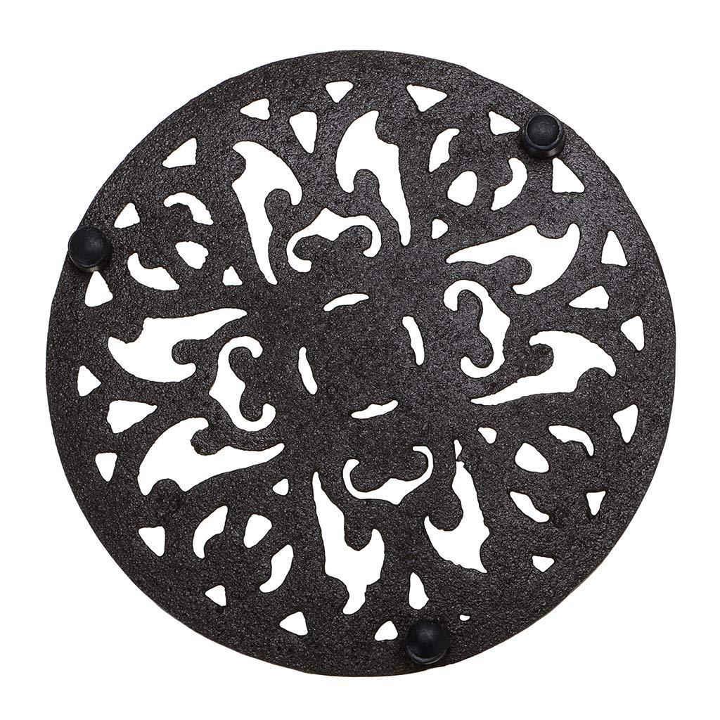 Sumnacon Cast Iron Trivet Decorative Round Trivet Mat Hot Pot Holder Pads with Vintage Pattern