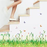 Spring campi erba fiori farfalle battiscopa linea Wall Sticker Paper casa adesivo da parete rimovibile in vinile camera da letto soggiorno PVC foto arte murale impermeabile DIY stick per adulti Teems Childres Kids nursery Baby + 3D Frog auto adesivo