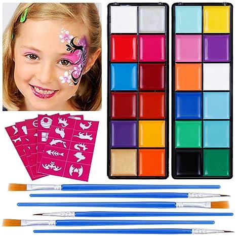 Lictin Kinderschminke Set Schminkpalette Face Paint 23 Farben Schminkset mit 5 Schablonen für Kinder Partys Weihnachten Fasch
