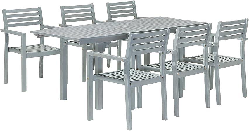 Beliani Set Tavolo Allungabile e 6 sedie in Legno Acacia