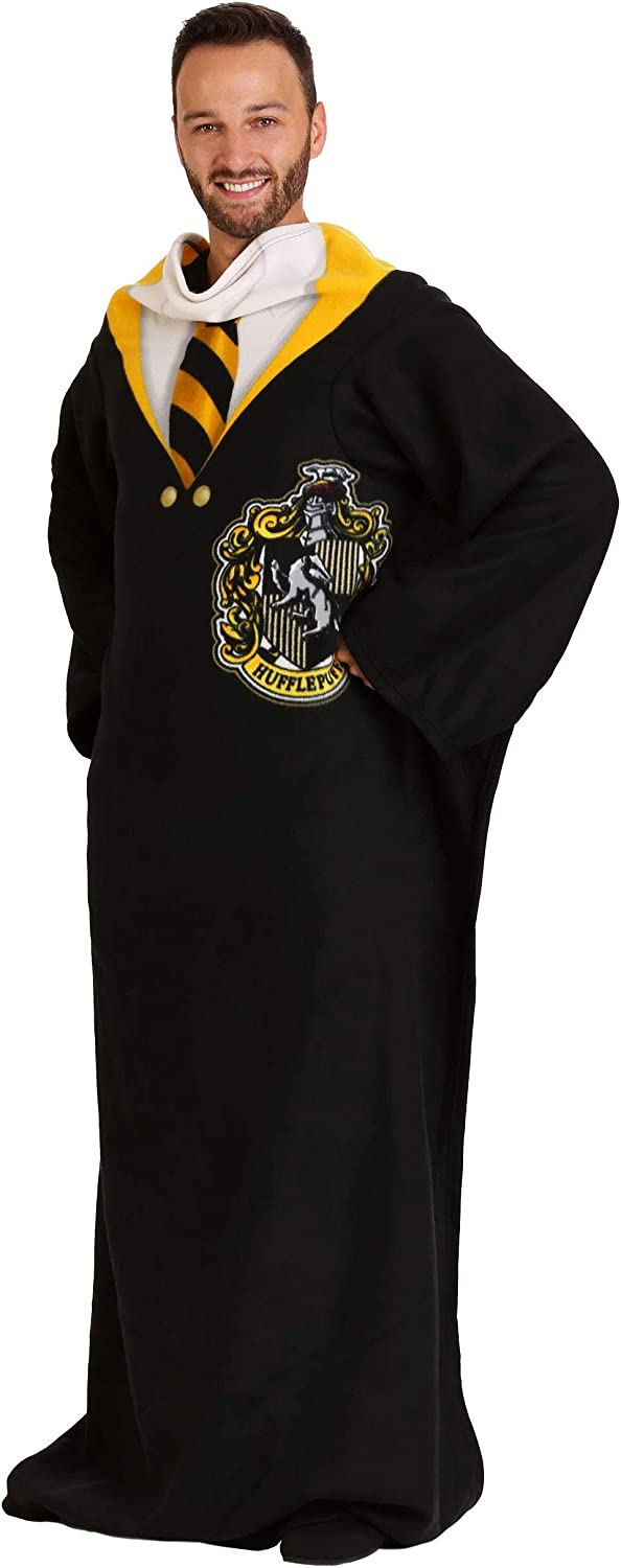 """Harry Potter Hufflepuff Rules Soft Throw Blanket with Sleeves, 48"""" x 71"""", Multi Color"""
