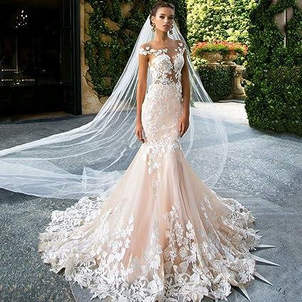 Wedding Dresses Mermaid.Amazon Com Elegant Mermaid Lace Applique Wedding Dresses With