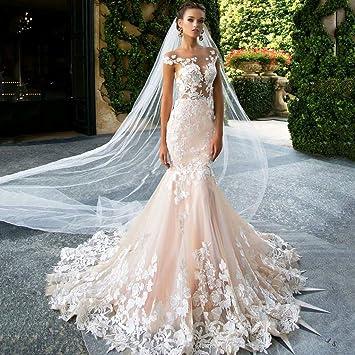 Amazon Com Elegant Mermaid Lace Applique Wedding Dresses
