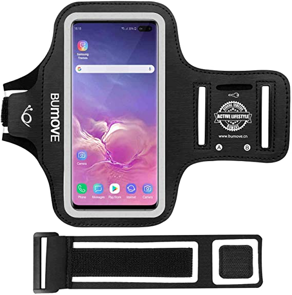 Pink Sweatproof Running Exercise Gym Cellphone Sportband Bag with Fingerprint Touch//Key Holder and Card Slot for Samsung Galaxy S10 Plus RUNBACH Galaxy S10 Plus Armband