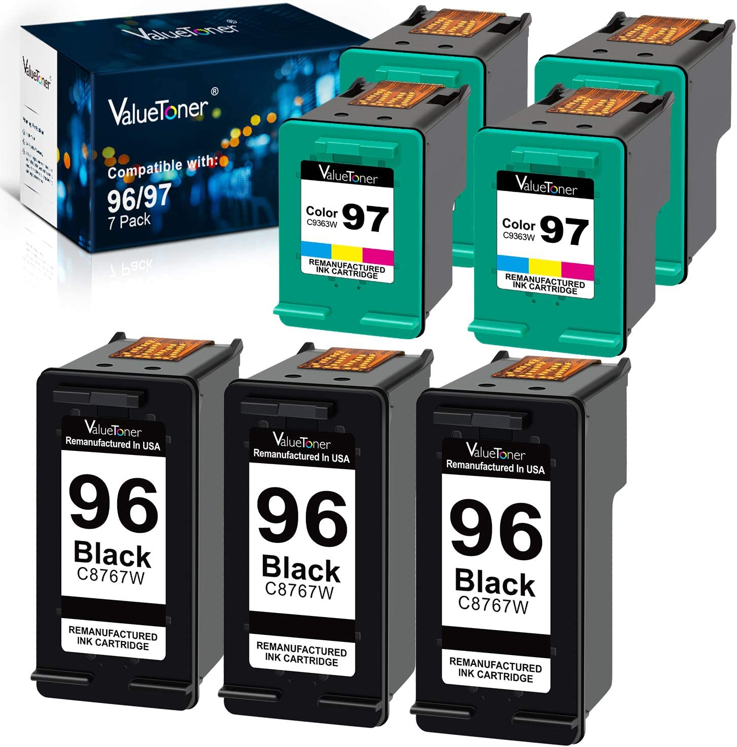 Vauletoner Remanufactured Ink Cartridges Replacement for HP 96 97 5 Pack (3 Black, 2 Tri-Color) Bundled with 2 Color