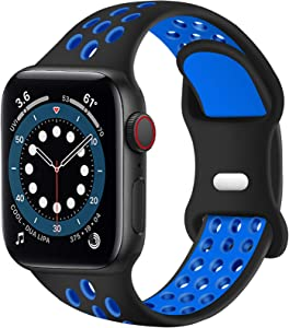 SVISVIPA Sport Bands Compatible for Apple Watch Bands 42mm 44mm,Breathable Soft Silicone Sport Women Men Replacement Strap Compatible with iWatch Series SE/6/5/4/3/2/1,Black Blue