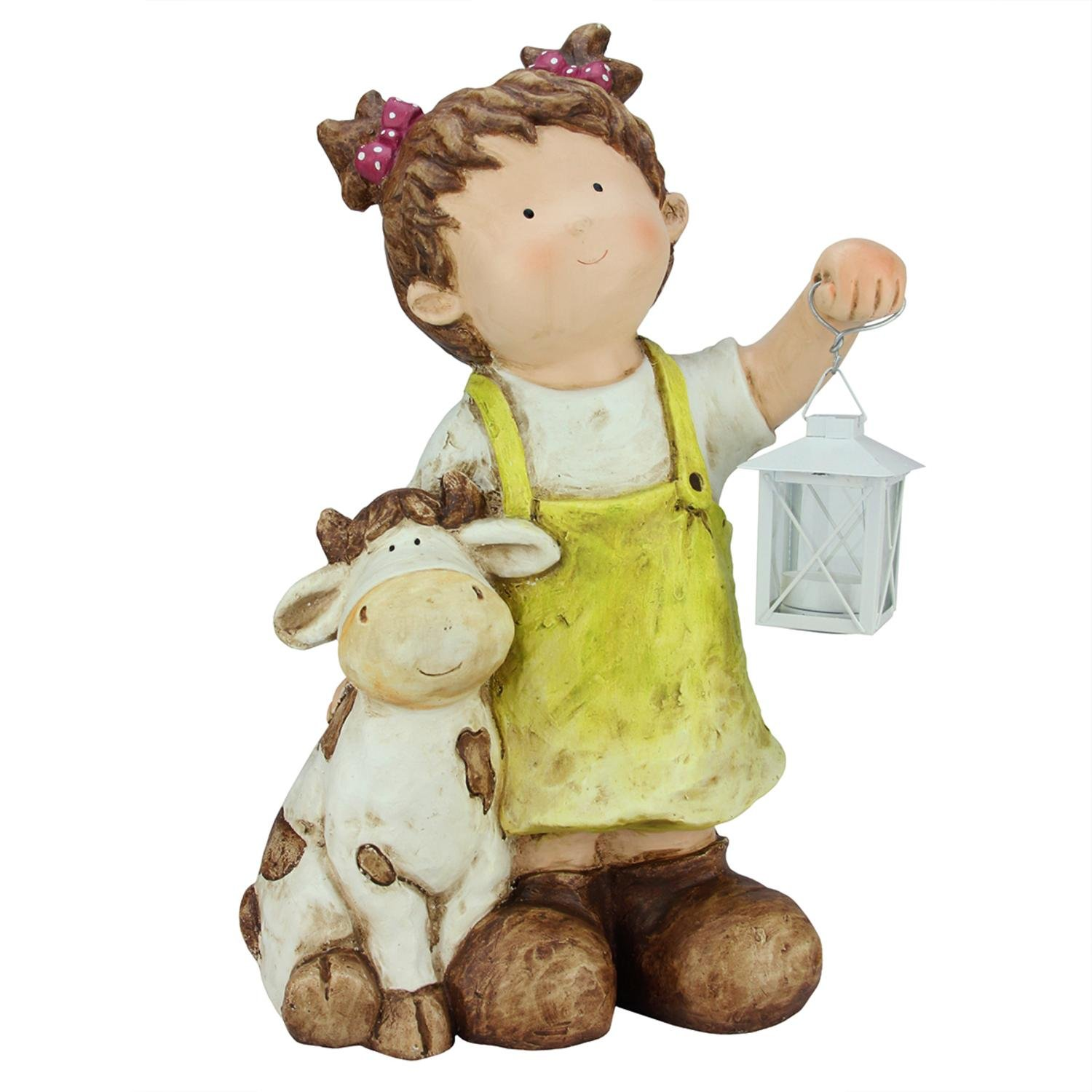 Northlight QQ76174 Young Girl Gnome with Cow & Lantern Outdoor Garden Patio Figure Statuary and Fountains, 17.5'', Green