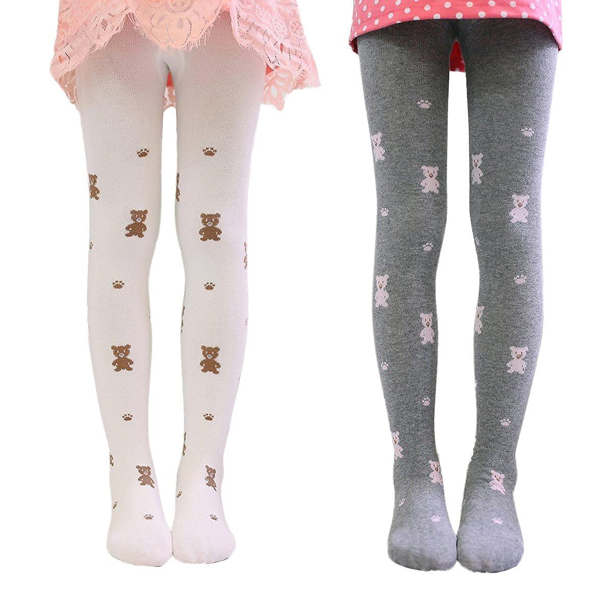 Girls Kids Cartoon Cotton Legging Pants Tight Stockings Tights 2 Pack 1-12Y Happy Cherry
