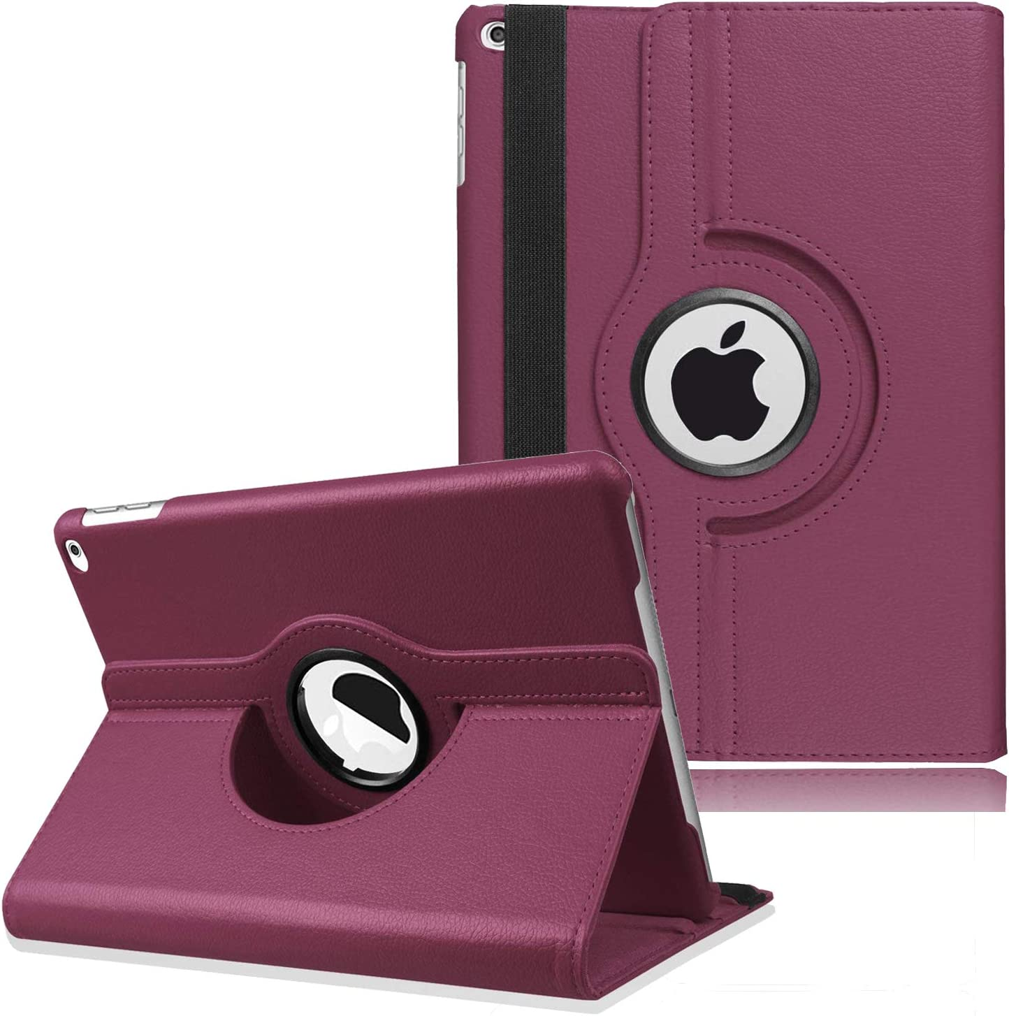 "New iPad 2017 9.7"" / iPad Air 2 Leather Case,360 Degree Rotating Stand Smart Cover with Auto Sleep Wake for Apple iPad Air or New iPad 9.7 Inch 2017 Tablet (Purple)"