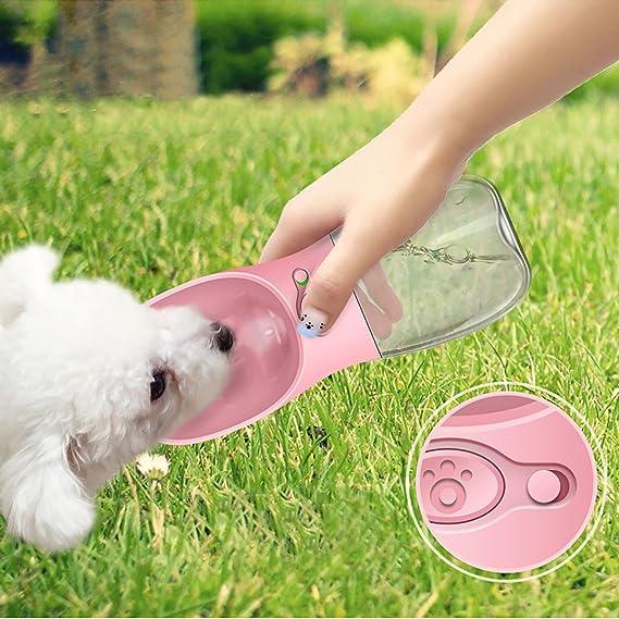 RCRuning-EU Botellas para Perros Portatil, Botella Agua Perro,Pet Portable Water, Pets Feeder for Pet Walking Travelling Drinking (12 oz, Rosa)