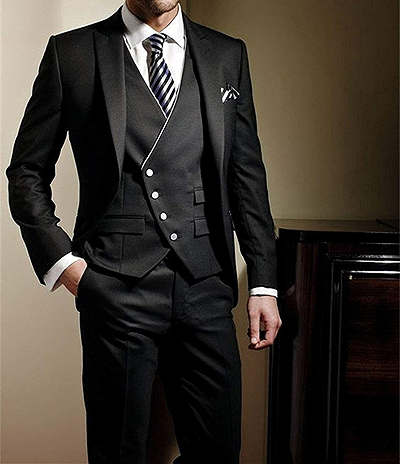 P&G Men's Shawl Lapel Suit Three Pieces Weddings Prom Party Dinner Tuxedo Black/B nNnvz