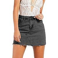 Justalwart Women's High Waisted Jean Skirt Fringed Slim Fit Elastic Bodycon Short Mini Skirt