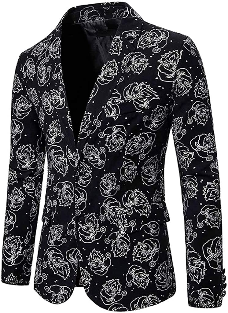 LUCAMORE Mens Blazer Suit Business Wedding Party Suit Single Breasted Slim Fit Jacket Floral Print Coats Chic Outwear