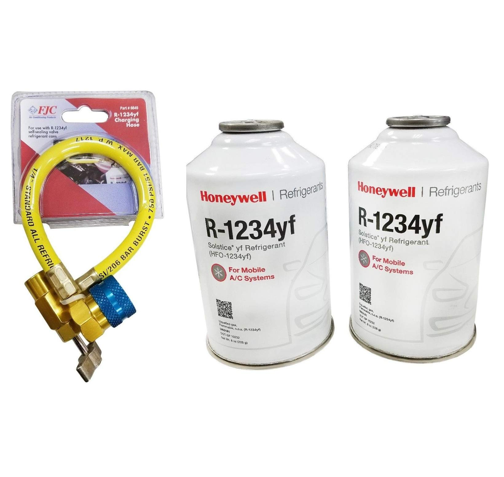 Pair Cans of R1234yf Refrigerant 8ounce Compatible w/SoIstice w/Charging Hose Quick Delivery by $/Reliable (Image #1)