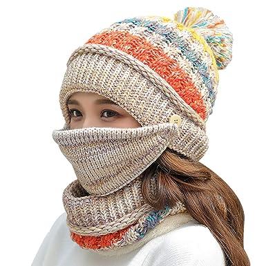 2617eb4d3a04 Yixda Femme Hiver Chapeau Bonnet et Écharpe de Cercle Cache-Col Tour de Cou  Masque