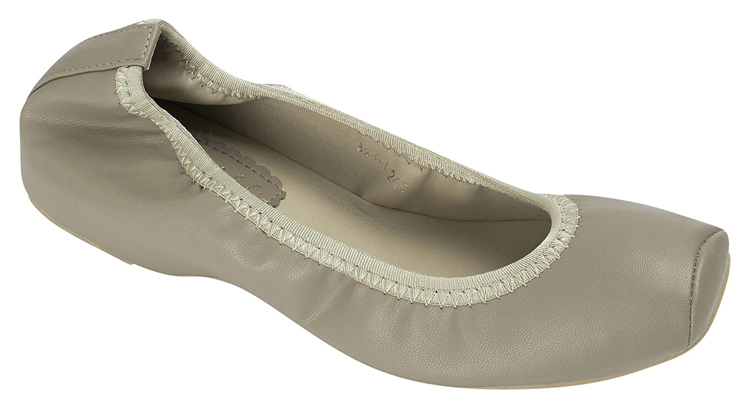 AnnaKastle Womens Vegan Leather Square Toe Ballet Flats Slip On Shoes