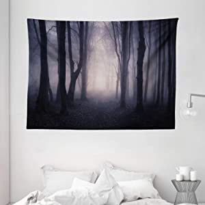 "Ambesonne Forest Tapestry, Path in Dark Deep in Forest with Fog Halloween Creepy Twisted Branches Picture, Wide Wall Hanging for Bedroom Living Room Dorm, 80"" X 60"", Grey Purple"
