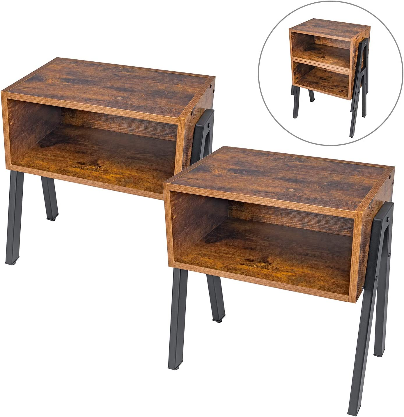 Nightstand, Set of 2 Stackable End Table, Side Table for Small Spaces, Industrial Accent Furniture, Metal Frame, Rustic Brown