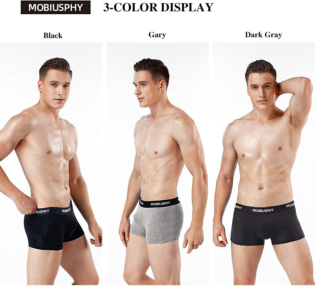 MOBIUSPHY Mens Boxer Shorts Underwear for Men Briefs Fitted Trunks Pack of 3 S M L XL XXL