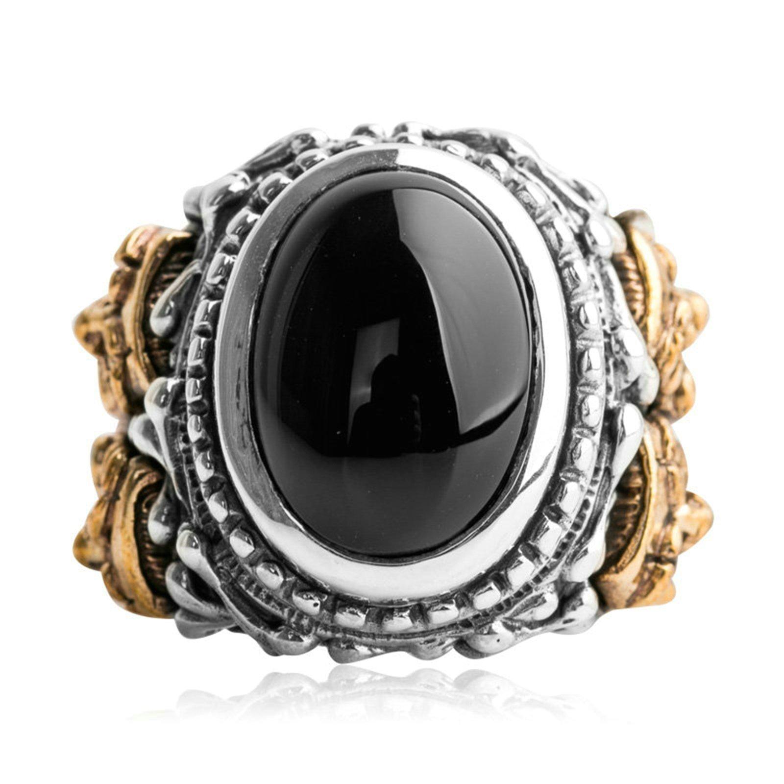 Beydodo Mens Silver Ring, Black Onyx Joker Ring Size 11 Punk Biker Ring Bands
