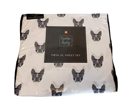 Amazon.com: Cynthia Rowley Twin XL French Bulldog Sunglasses Sheet