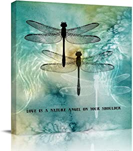 Flouky Square Canvas Wall Art for Hotel Office Home Decor,Quote Love is A Nature Angel on Your Shoulder Dragonfly Printed Artworks for Bedroom Living Room Bathroom,Framed,Ready to Hang,12 x 12 Inch