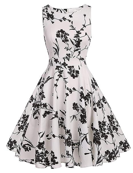 2e034838a79 Kostlich Women Sleeveless Vintage Dress Floral Print Summer Dress Elegant  Rockabilly Party Dresses Sundress (S