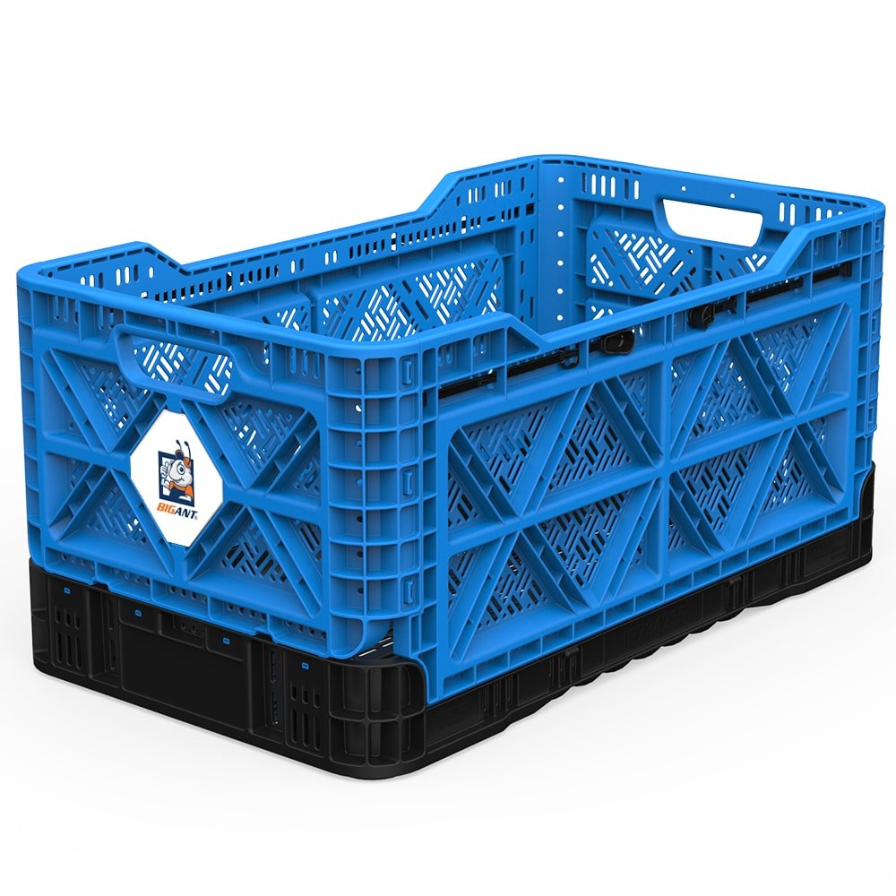BIGANT Heavy Duty Collapsible & Stackable Plastic Milk Crate - IP734235, 23.8 Gallons, Large Size, Blue, Set of 1, Absolute Snap Lock Foldable Industrial Storage Bin Container Utility Tote Basket