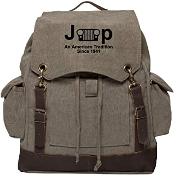 Khaki /& Bk Jeep An American Tradition Canvas Rucksack Backpack w//Leather Straps