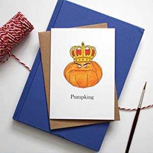 43LenaJon Pumpking Halloween Card Humour Card Pun Pumpkin King Quirky Card Illustrated Food Card Greetings Cards with Envelopes Funny Card 10'' x 7'' rd090