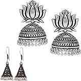 V L IMPEX Handmade Silver Plated Lotus Shape Oxidised Jhumka JHumki Earring For Girls & Women