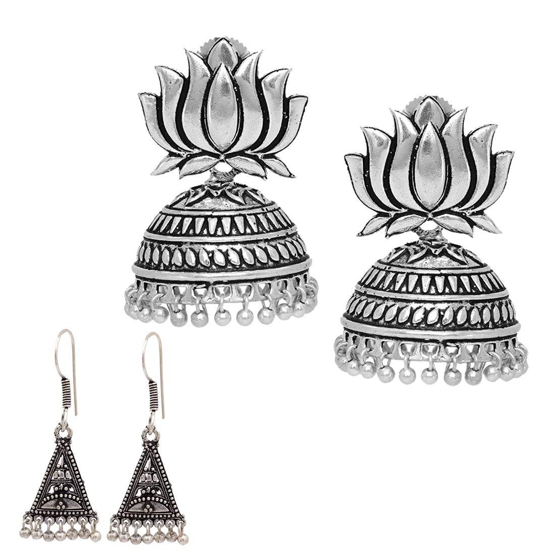 Oxidized Silver Plated handmade Sun Stud Jhumka Jhumki Ethnic Earrings for women