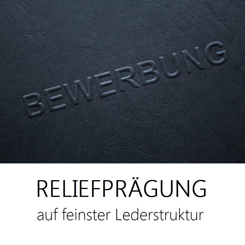 """10 Stück 3-teilige Bewerbungsmappen schwarz mit 2 Klemmschienen in feinster  Lederstruktur // hochwertige Prägung """" BEWERBUNG """" // direkt vom Hersteller  ..."""