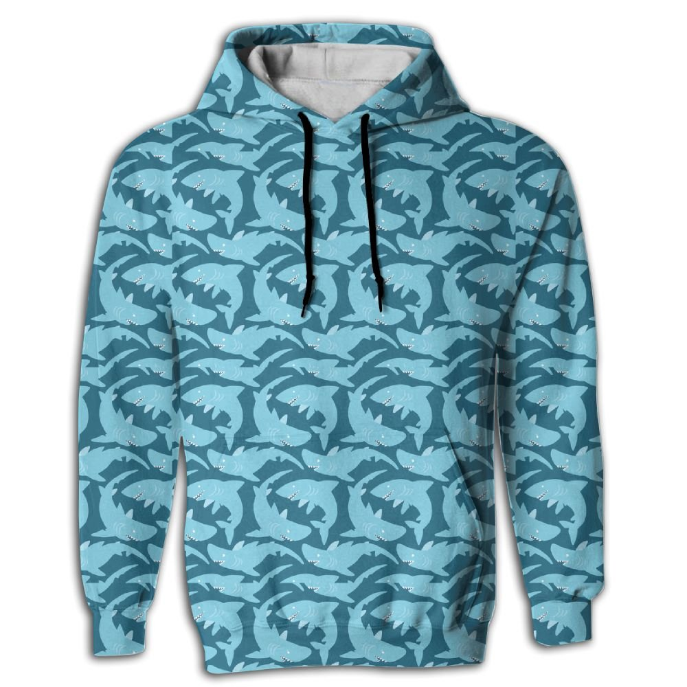 FUSALIN Blue SharkUnisex 3D Printed Sweatshirt Casual Pullover Hoodie With Big Pockets