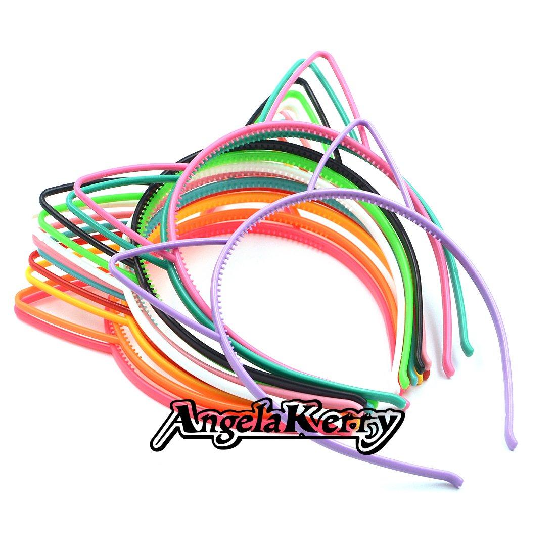 Amazon.com : AngelaKerry 10pcs Black Cat Ear Plastic Headbands Hairbands Bow for Girls Fashion Party DIY (Black, Pack of 10pcs) : Beauty