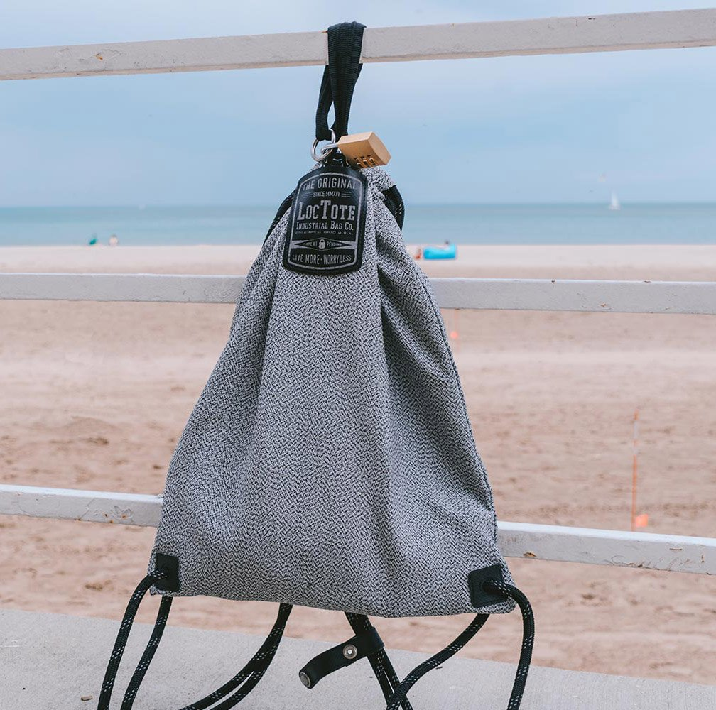 LOCTOTE Flak Sack SPORT - Lightweight Theft-Resistant Drawstring Backpack | Lockable | Slash-Resistant | Portable Safe by LOCTOTE (Image #7)