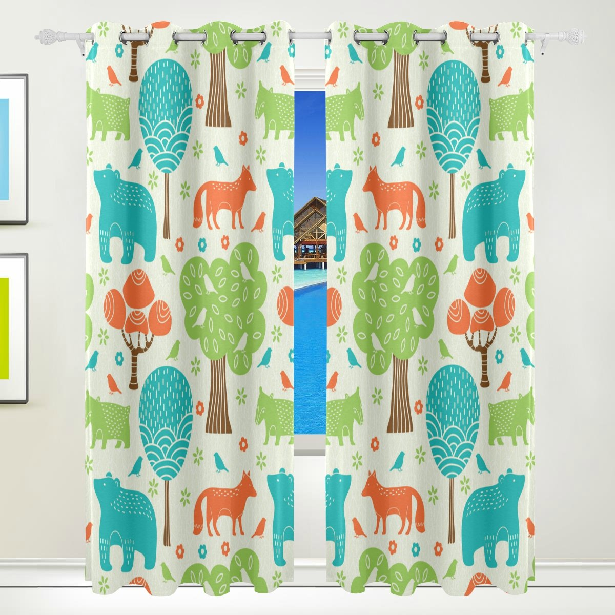 Vantaso Window Curtains 84 Inch Long Forest Animals Fox Bear Blue Green for Kids Girls Boys Bedroom Living Room Polyester 2 Pannels