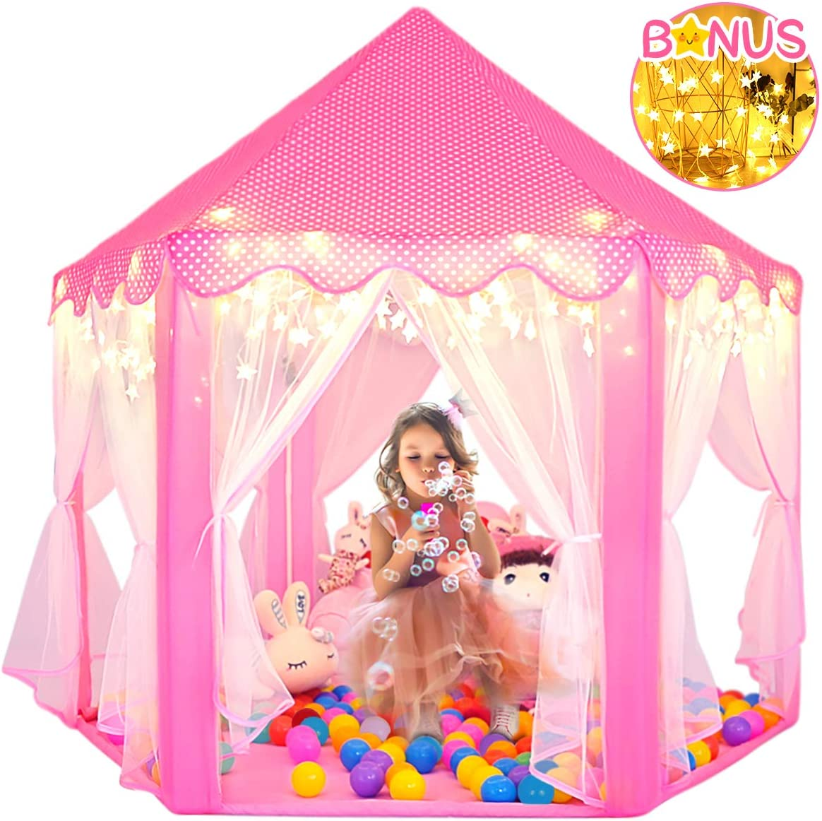 Amazon Com Sumerice Girls Play Tent Toys Large Indoor And Outdoor Hexagon Princess Castle Fairy Playhouse Pink Toys Games
